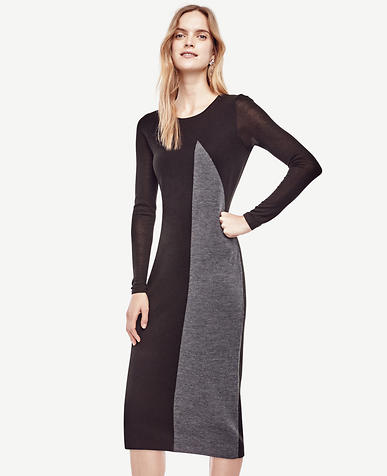 Image of Colorblocked Midi Sweater Dress