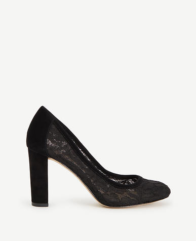 Image of Abriana Lace Block Heel Pumps
