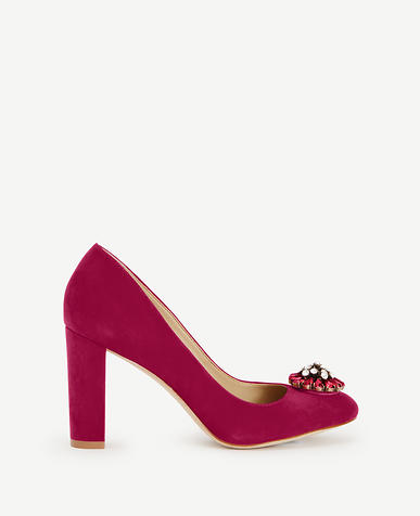Image of Anaya Suede Stone Block Heel Pumps
