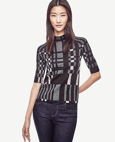 Image of Plaid Mock Neck Sweater