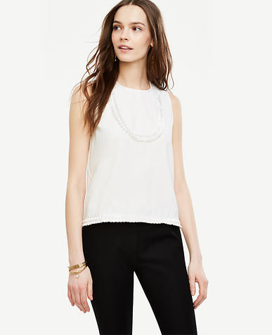 Image of Tassel Bib Sleeveless Blouse