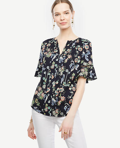 Image of Wild Flower Pintucked Flutter Sleeve Top