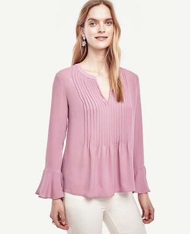 Image of Pintucked Flounce Blouse
