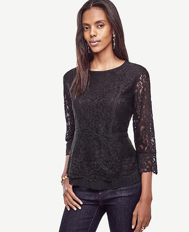 Image of Lace Pleated Peplum Top