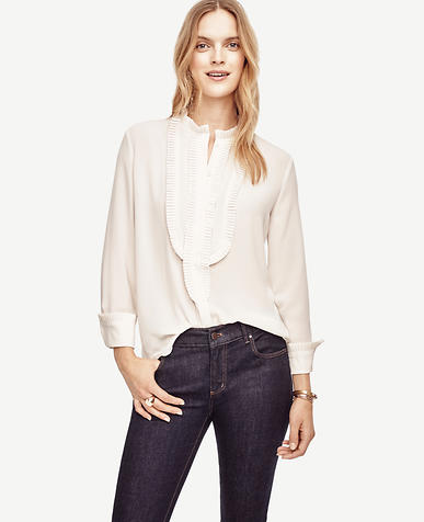 Image of Pleated Bib Blouse