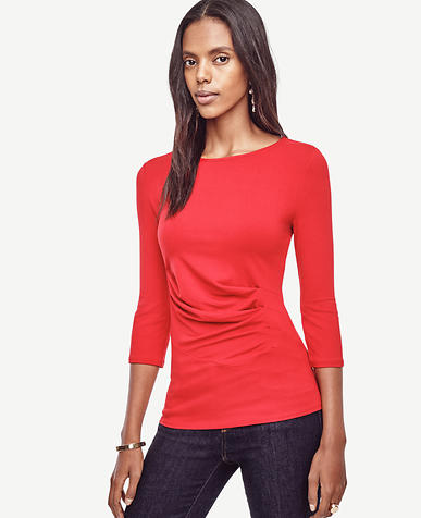 Image of Ruched Boatneck Top