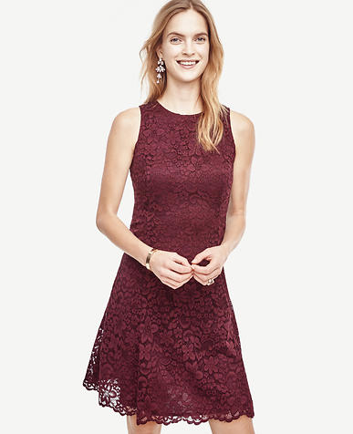 Image of Petite Lace Flare Dress