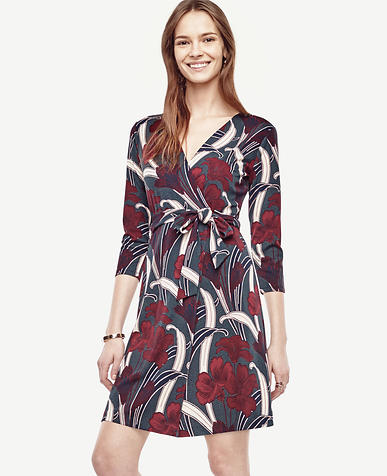 Image of Petite Floral 3/4 Sleeve Wrap Dress