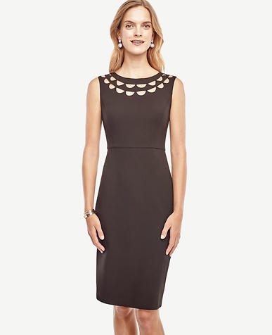 Image of Petite Cutout Scalloped Dress