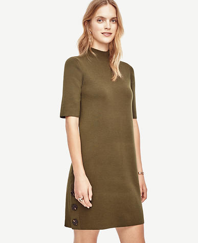 Image of Petite Side Button Sweater Dress