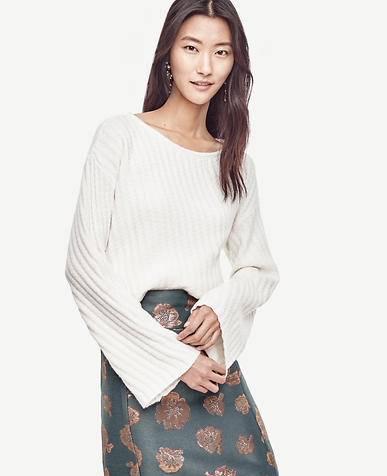 Image of Petite Stitched Bell Sleeve Sweater
