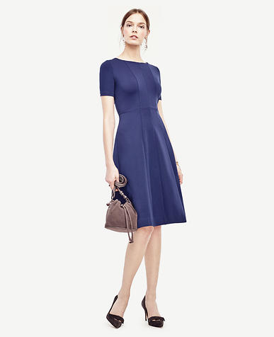 Image of Petite Ponte Seamed Flare Dress