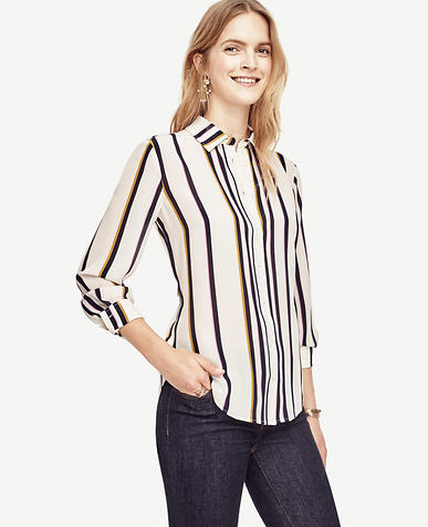 Image of Striped Silk Blouse