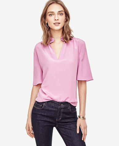 Image of Silk Ruffle Top