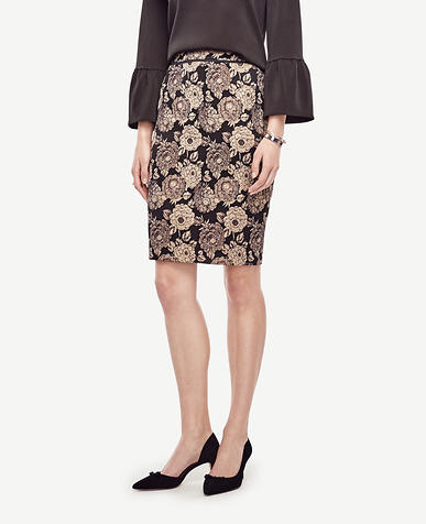 Image of Petite Gilded Blossom Pencil Skirt