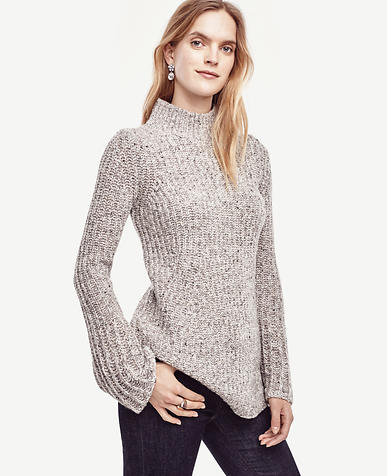 Image of Fluted Sleeve Tunic Sweater