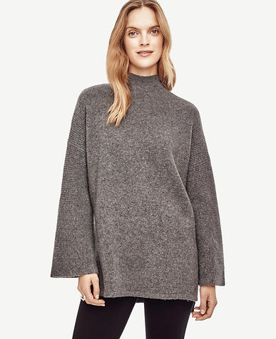 Image of Ribbed Bell Sleeve Tunic Sweater