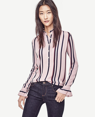Image of Striped Ruffle Trim Popover