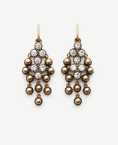Image of Round Stone Chandelier Earrings