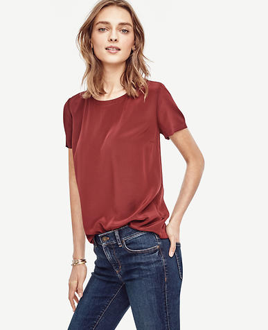 Image of Petite Silk Back Slit Tee