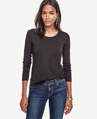 Image of Cotton Scoop Neck Long Sleeve Tee