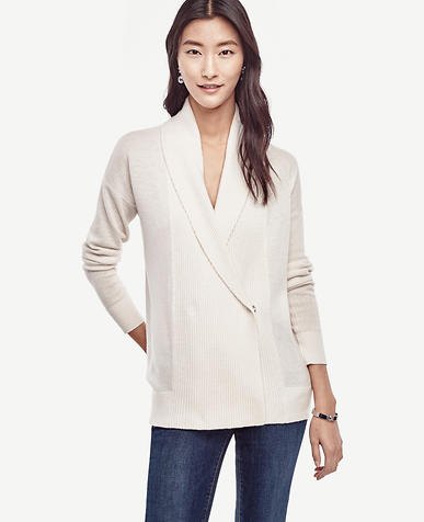 Image of Wool Cashmere Shawl Cardigan