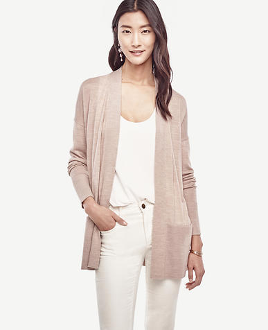 Image of Wool Blend Pocket Open Cardigan