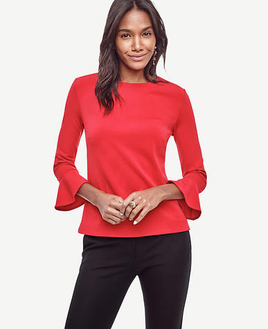 Image of Petite Crepe Bell Sleeve Top