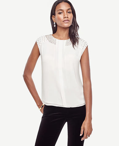 Image of Embellished Chiffon Top