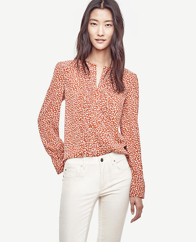 Image of Spotted Split Neck Blouse