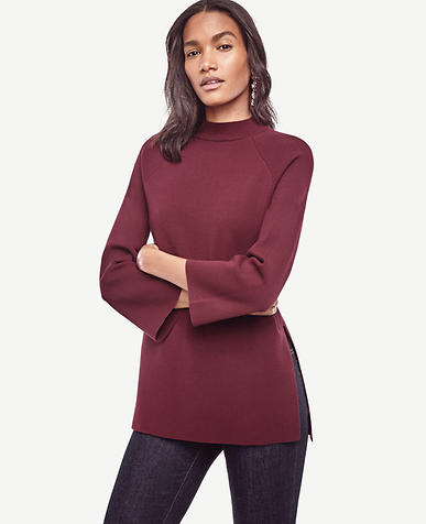 Image of Mock Neck Tunic Sweater
