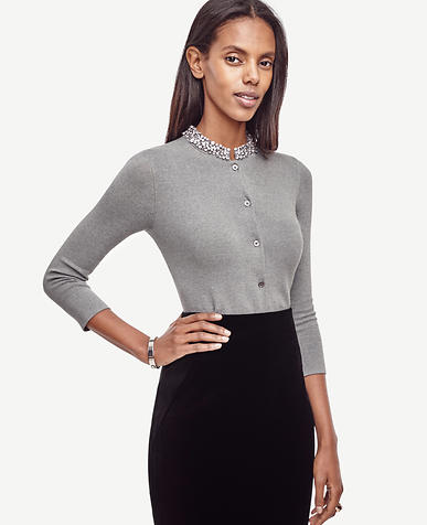 Image of Petite Crystal Neck Ann Cardigan