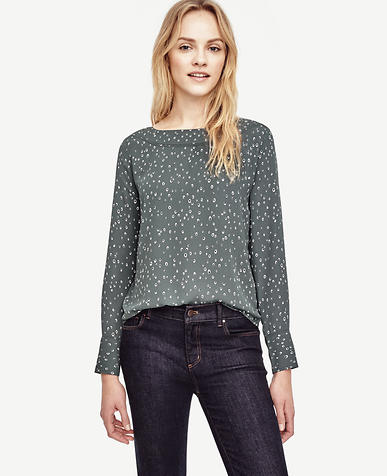 Image of Petite Raindrop Perforated Boatneck Top