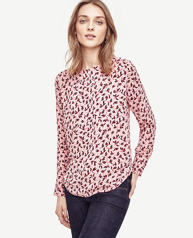 Image of Petite Leafy Perforated Boatneck Top