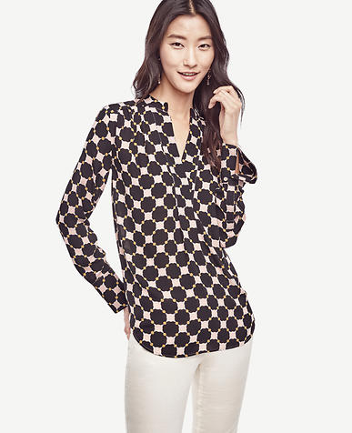 Image of Petite Mixed Circle V-Neck Blouse