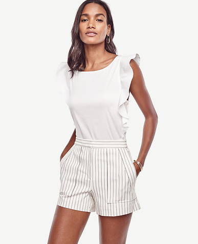 Image of Pinstripe High Waist Shorts