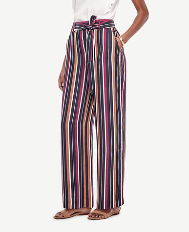 Image of Stripe Belted High Waist Wide Leg Pants