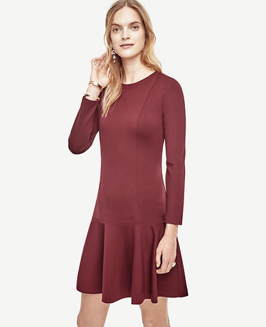 Image of Petite Ponte Flounce Dress