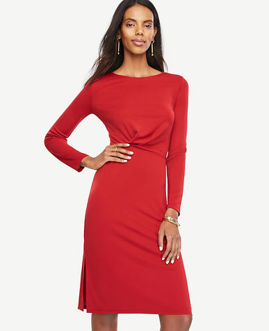 Image of Draped Matte Jersey Sheath Dress