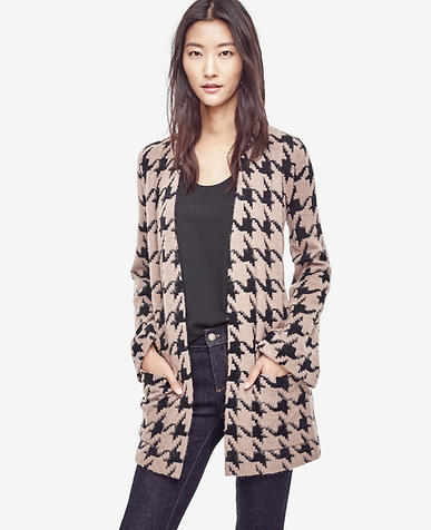 Image of Petite Houndstooth Open Cardigan