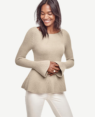 Image of Petite Bell Sleeve Peplum Sweater