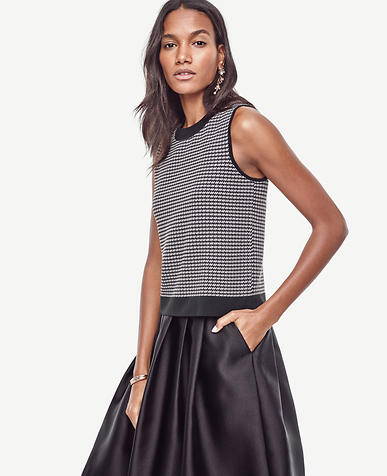 Image of Petite Houndstooth Cropped Ann Shell