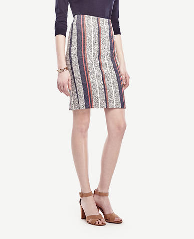 Image of Petite Racer Stripe Tweed Pencil Skirt