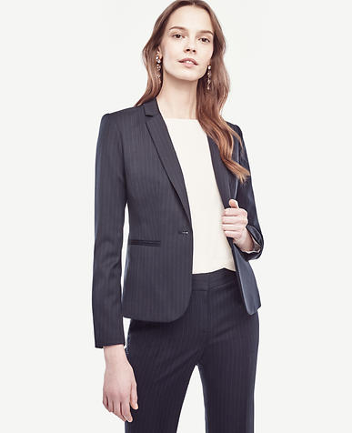 Image of Petite Pinstripe One Button Jacket