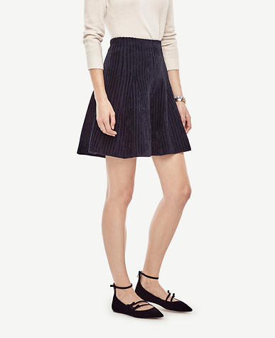 Image of Petite Striped Flare Sweater Skirt