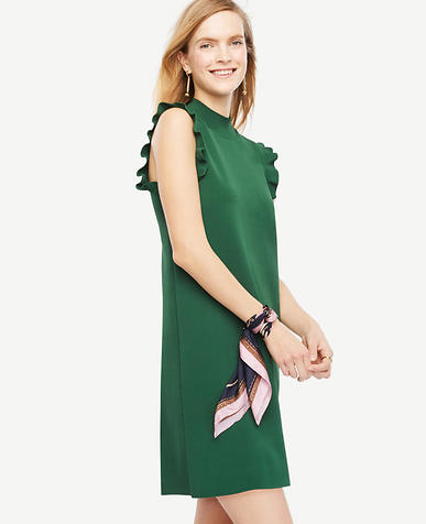 Image of Ruffle Sleeve Mock Neck Dress
