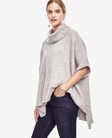 Image of Cashmere Turtleneck Ribbed Poncho