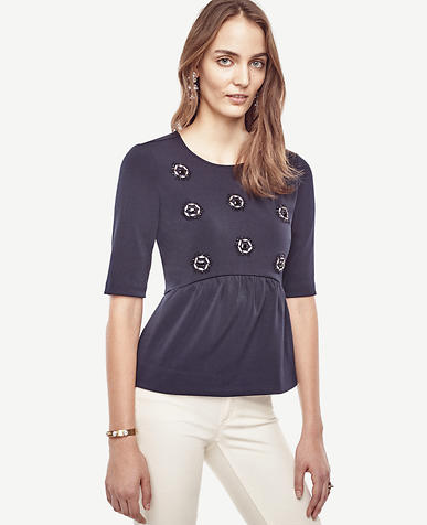 Image of Embellished Peplum Top