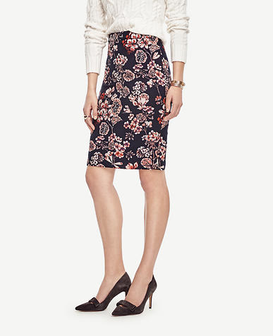 Image of Geranium Jacquard Pencil Skirt