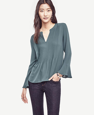 Image of Petite Pintucked Flounce Blouse